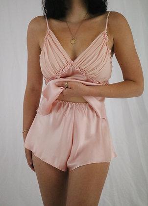 Vintage 80's Blush Silk Victoria's Secret Two Piece Set