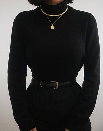 Vintage Noir Cotton Turtleneck