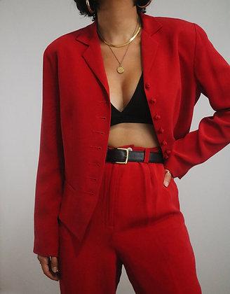 Vintage Cherry Silk Pant Suit