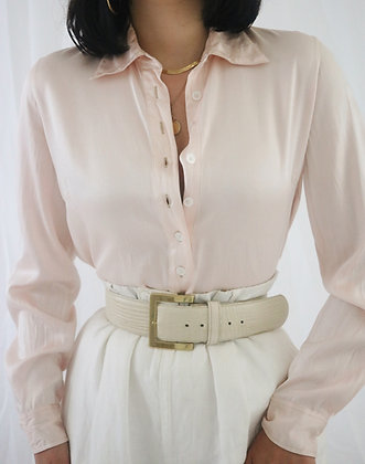 Vintage Blush Silk Blouse