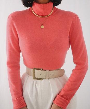 Vintage Grapefruit Cashmere Turtleneck Sweater