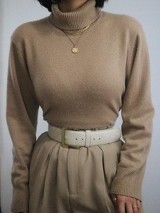 Vintage Camel Cashmere Turtleneck Sweater