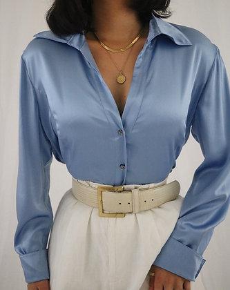 Vintage Sapphire Silk Blouse