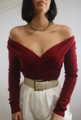 Vintage Merlot Angora Sweater
