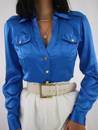 Vintage Azure Silk Blouse