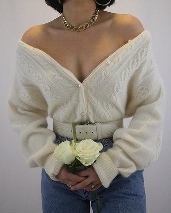 Vintage Pearl Angora + Lambswool Cardigan
