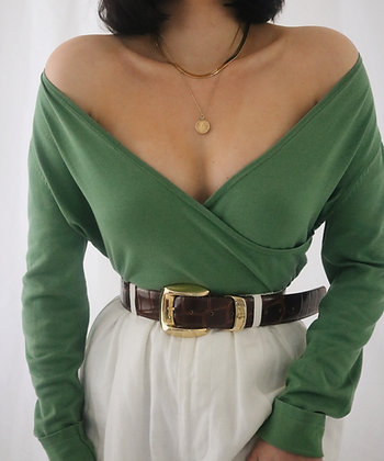 Vintage Avocado Silk Wrap Sweater