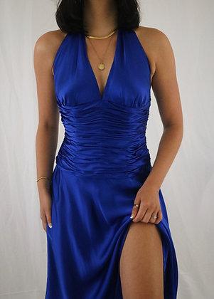 Vintage Sapphire Silk Dress (S)