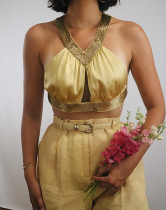 Vintage Honey Silk Cropped Top