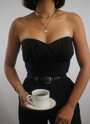 Vintage Noir Bustier Silk Top