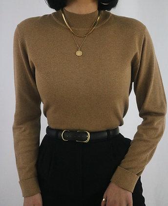 Vintage Camel Silk Mock Neck Sweater