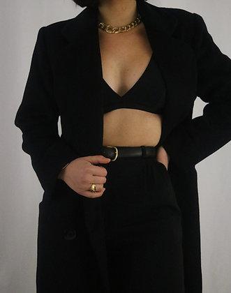 Vintage Noir Wool Coat