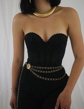 Vintage Noir Lace Bustier