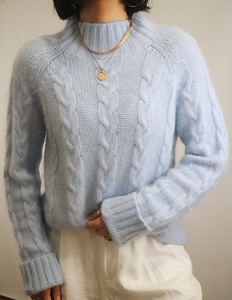 Vintage Sky Angora Cable Knit Sweater
