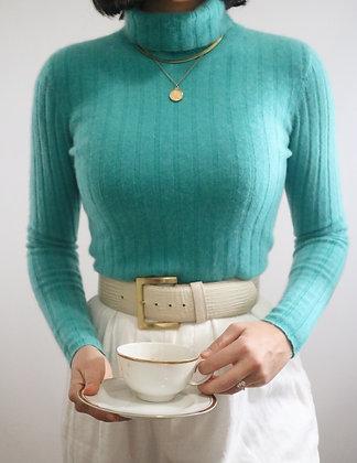 Vintage Cerulean Cashmere Turtleneck Sweater
