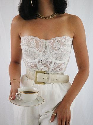 Vintage Milk Lace Bustier (36D/34DD)