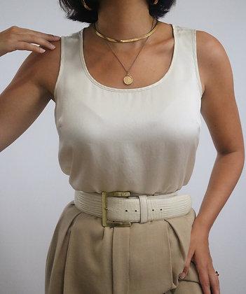 Vintage Ivory Silk Sleeveless Top