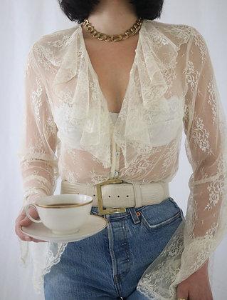 Vintage 1980's Ivory Lace Blouse