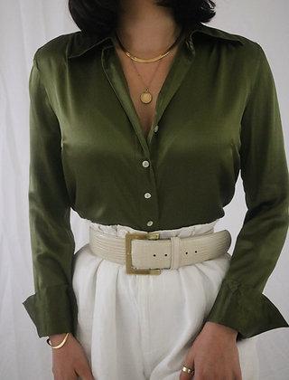 Vintage Olive Silk Blouse