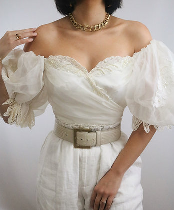 Vintage 1970's Ivory Off the Shoulder Puff Sleeve Blouse