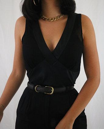 Vintage Noir Silk Top (M)