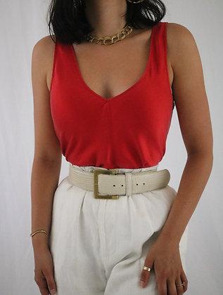Vintage Scarlet Silk Top (M)