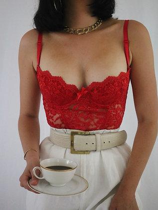 Vintage Cherry lace Bustier