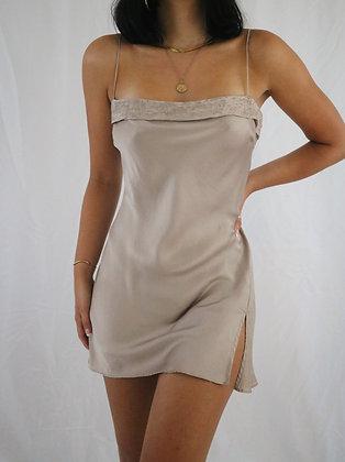 Vintage Almond Victoria's Secret Silk Slip Dress (M)
