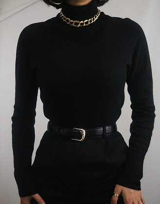 Vintage Noir Cashmere Turtleneck Sweater