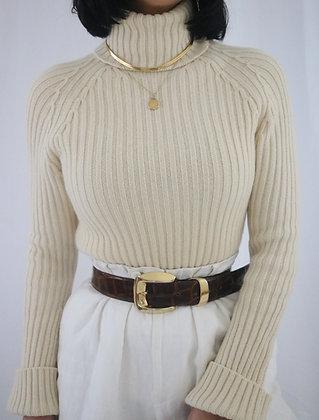 Vintage Ivory Cashmere Turtleneck