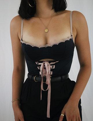 Vintage Victoria's Secret Noir + Berry Satin Bustier (34C)