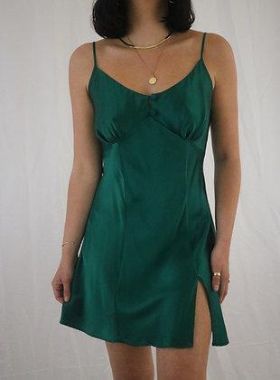 Vintage Emerald 1990's Victoria's Secret Silk Slip Dress