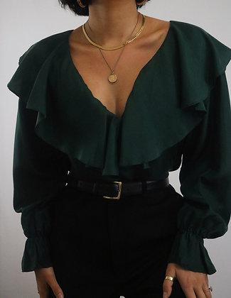 Vintage Pine Silk Blouse