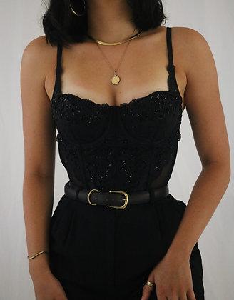 Vintage Victoria's Secret Noir Lace + Beaded Bustier (34B)