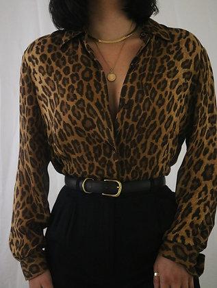 Vintage Ralph Lauren Silk Leopard Print Blouse