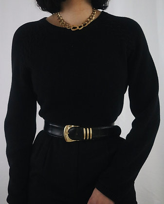 Vintage Noir Cotton Crew Neck Sweater