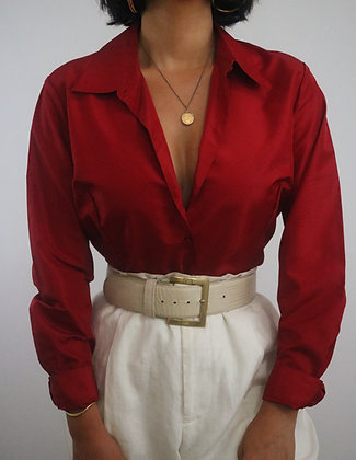 Vintage Cherry Silk Blouse