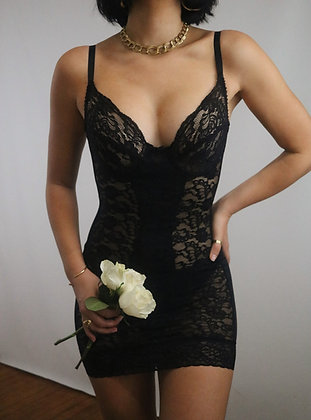 Vintage Noir Lace Bustier Dress