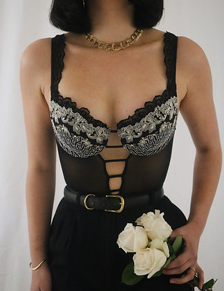Vintage 90's Victoria's Secret Noir Teddy - 34B