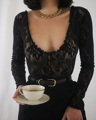 Vintage 1970's Noir Lace Bodysuit