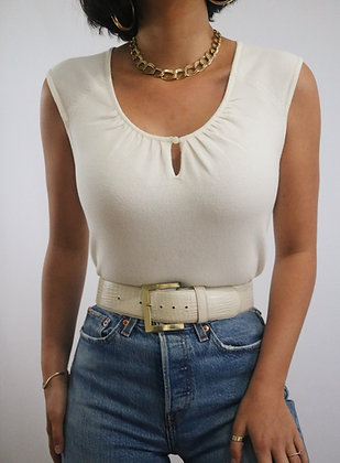Vintage Ivory Cotton Cap Sleeve Top