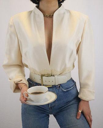 Vintage Ivory Silk Blazer