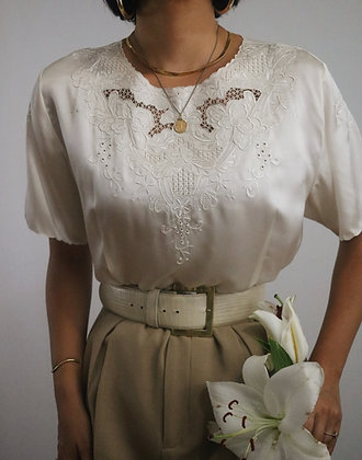 Vintage Ivory Embroidered Silk Top