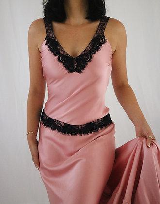 Vintage Pink Rose Silk Gown (S)