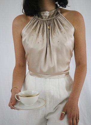 Vintage Latte Silk Halter Top