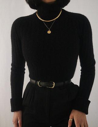 Vintage Noir Cashmere Turtleneck Sweater