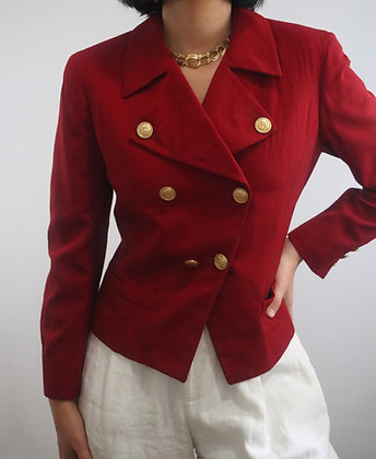 Vintage Cherry Wool Double Breasted Blazer
