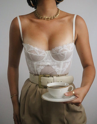 Vintage Ivory Merry Widow Bustier