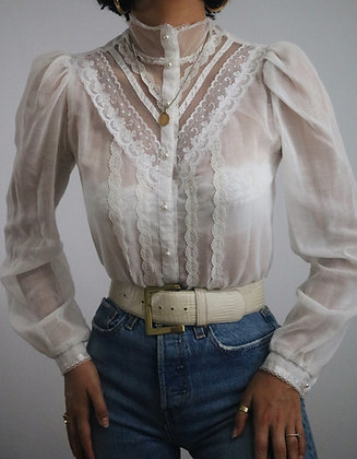 Vintage Ivory Jessica's Gunnies Puff Sleeve Blouse