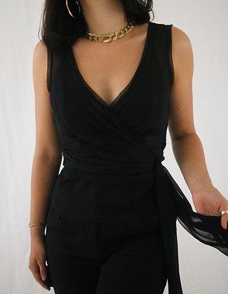 Vintage Noir Silk Tie Top
